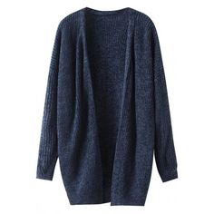 Navy Blue Drop Shoudler Knit Cardigan (505 MXN) ❤ liked on Polyvore featuring tops, cardigans, outerwear, sweaters, jackets, navy, open front knit cardigan, navy blue cardigan, long sleeve knit tops e navy blue tops