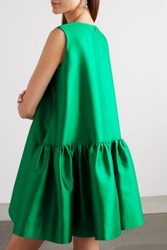 Green silk-twill, white tulle Concealed zip fastening along back silk Dry clean Simple Dresses, Cute Dresses, Casual Dresses, Dress Outfits, Fashion Dresses, Mini Robes, Bubble Skirt, Tent Dress, African Lace