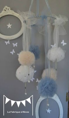 Etsy - Shop for handmade, vintage, custom, and unique gifts for everyone Fabric Chandelier, Mobile Chandelier, Baby Diy Projects, Projects To Try, Diy Bebe, Baby Balloon, Diy Baby Gifts, Felt Garland, Creation Deco