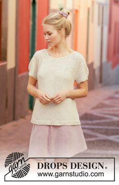 Knitted top with round yoke in DROPS Belle. Piece is knitted top down with fan pattern. Size: S - XXXL Drops Design, Knitting Patterns Free, Knit Patterns, Free Knitting, Magazine Drops, Point Mousse, Knitting Gauge, Summer Knitting, Labor