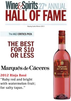 Marqués Cáceres Rioja Rosé - The Best for $10 or Less - Wine & Spirits 27th Annual Hall of Fame Wine Shelves, Watermelon Fruit, Food Tasting, Wine List, Wine And Spirits, Wineries, Hot Sauce Bottles, Cigars, Wine Recipes