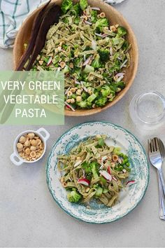 Very Green Vegetable Pasta! Made with green soybean fettuccini and loaded with broccoli, peas, radishes, and lots of herbs, this pasta is totally vegan, gluten-free, and packed with plant-based protein. #pasta #vegan #glutenfree #vegetarian