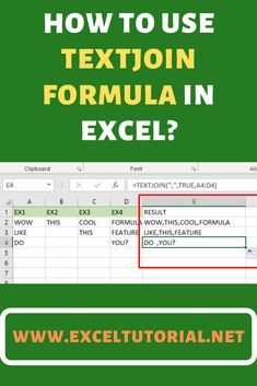 The TEXTJOIN formula joint (concatenates) values with a specific delimiter. It allows you to supply a range of cells, and also has a setting which can help you to ignore empty values. Learn Computer Science, Computer Help, Computer Programming, Computer Tips, Data Science, Forensic Science, Environmental Science, Life Science, Microsoft Excel Formulas