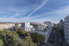 A giant zeppelin-shaped gathering space lands on the roof of the Dox Center for Contemporary Art in Prague Prague Czech Republic, Zeppelin, Contemporary Art, Multi Story Building, Mansions, Architecture, House Styles, Gallery, Outdoor