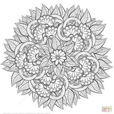 Abstract Flowers Zentangle Coloring Page – Coloring Mandalas Free Adult Coloring Pages, Flower Coloring Pages, Mandala Coloring Pages, Free Printable Coloring Pages, Coloring Book Pages, Flower Mandala, Abstract Flowers, Doodle Inspiration, Mandala Drawing