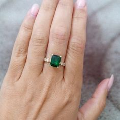 SALE! Statement emerald ring,rectangle ring,gold ring,may birthstone,engagement ring,diamond ring,bridal gift