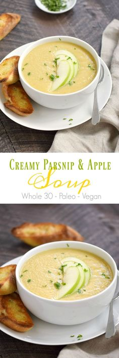 This Creamy Parsnip and Apple Soup is the perfect way to start an Irish meal, or serve as a healthy and delicious main course | cookingwithcurls.com
