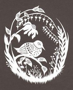 Night Bird Rests - Cut Paper Art