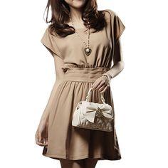 Allegra K Woman Solid Khaki Scoop Neck Dolman Sleeve Banded Dress M