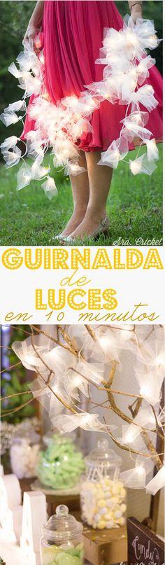 Guirnalda de luces en 10 minutos. Guirnalda de luces con tul. #tulle #diy #guirnalda #garland