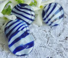 Vintage Buttons. Candy Stripe Glass Blue and White by ButtonBroker