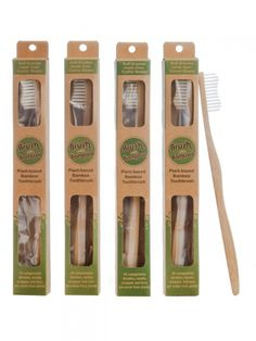 Plant-based Bamboo Toothbrush Adult Size (Pack of 4 plant-based bamboo toothbrushes Organic bamboo handle Soft plant-based bristles made from a vegetable oil base (usa made) Plant-based packaging Lasts just as long as plastic toothbrush