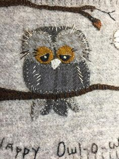 Motifs Applique Laine, Wool Applique Quilts, Bird Applique, Wool Applique Patterns, Wool Embroidery, Owl Patterns, Owl Quilt Pattern, Quilt Patterns, Felt Owls
