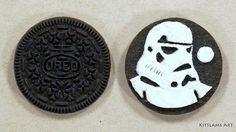 It's how I draw Darth Vader on an Oreo Cookie. It's my Darth Vader Oreo Cookie sculpture. This Star Wars Oreo Cookie art is part of an ongoing Series of Oreo. Stormtrooper Art, Imperial Stormtrooper, Cookie Drawing, Unusual Art, Unique Art, Food Art Painting, Art For Kids Hub, Drawing Stars, Star Wars Drawings