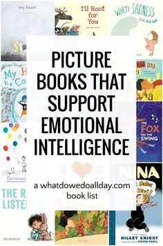 Picture Books to Support Emotional Intelligence Children's picture books about feelings and emotions. These books will help support emotional intelligence, a marker of a child's future success. Read Aloud Books, Good Books, My Books, Best Children Books, Childrens Books, Children Games, Children Reading, Children Cartoon, Social Emotional Learning
