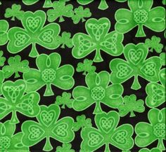 Celtic Clovers Diamonds Print Fabric By The Yard  by SoSewTwisted