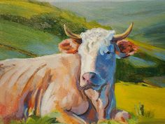 Cow with horns lying down Painting  - Cow with horns lying down Fine Art Print