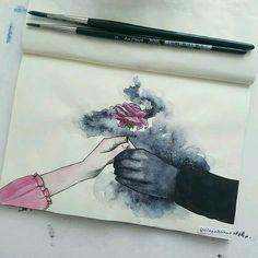 The Shadowsinger and The Flower art Art Et Design, Art Manga, Arte Sketchbook, Art Drawings Sketches, Art Inspo, Painting & Drawing, Amazing Art, Art Reference, Watercolor Paintings