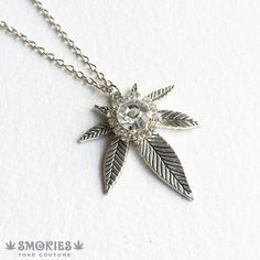 Silver marijuana necklace with rhinestone! Beautiful and elegant!