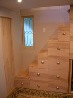 Lack of space? Stair case from wall, with storage.. saving lots of room for you!