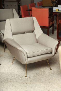 Carlo di Carli; Brass Legged Club Chair, 1960s.