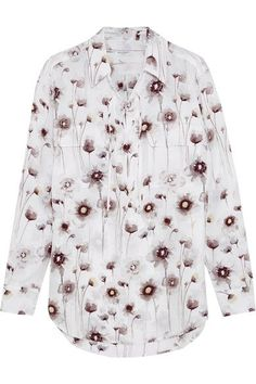 Equipment - Knox Lace-up Floral-print Washed-silk Shirt - White -