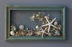 Starfish Wave Wall Hanging Beach Art with Shells Shell Art