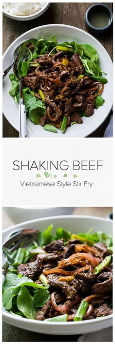 Shaking Beef   www.kitchenconfidante.com   This tasty Vietnamese style stir-fry is simple and perfect for busy weeknight meals.