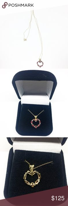 14k Yellow Gold Ruby & Diamond Heart Necklace Beautiful 14k yellow gold authentic natural ruby and diamond heart shaped necklace.  Both charm and chain are marked 14k.  Chain is 20 inches long. Great condition!  Amazing piece and beautiful gift. If you have any questions please ask and be sure to check out my other jewelry listings! Jewelry Necklaces