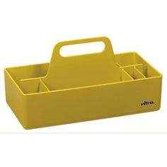 The iconic Vitra Toolbox Storage Box was designed by Arik Levy for the design label Vitra.Arik Levy is a renowned designer with an array of iconic products to h Vitra Furniture, Furniture Design, Cleaning Equipment, Cleaning Kit, Office Storage, Office Organization, Office Accessories, Kitchen Accessories, Condiment Caddy