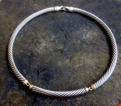 09860f4afa38 David Yurman 7mm Silver Cable Metro Collar Necklace with 14k Gold and  lobster clasp