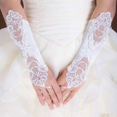 New Ivory Bride Gloves,Wedding Party Dress Gloves,Fingerless Pearl