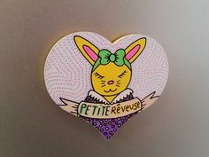 Magnet lapin #art #etsy #illustration #rabbit #lapin #bunny #bunnies #love #heart #dream #dreamer #illustration #french #painting #drawing #diy #wood #magnet #bow #girly #banner #vintage #oldschool