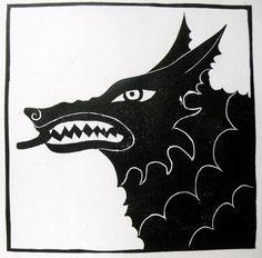 Wolf woodblock print. $23.00, via Etsy.