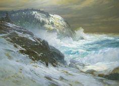 """Winter '86, Monhegan,"" Don Stone, 1986, oil on canvas, 44 1/4 x 60"", Portland Museum of Art."