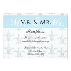 Two Tuxedo Groom Gay Wedding Reception Card