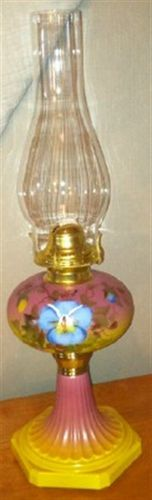 Mosser Hand Painted Large Oil Lamp Pansy Very Colorful Artist Signed | eBay