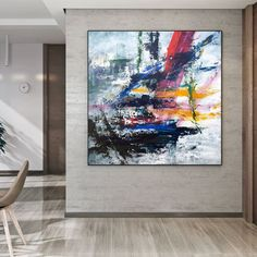 Abstract Canvas Art Original Acrylic Painting Extra Large image 1 Modern Art, Contemporary Art, Original Art, Original Paintings, Colorful Artwork, Extra Large Wall Art, Abstract Canvas Art, Office Wall Art, Texture Art