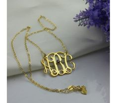 Gold Plated Large 3D Monogram Necklace With Birthstone