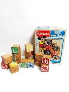 Playskool Disney Wood Blocks Vintage 1978 with by TimelessToyBox
