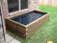 You can go with a wood pond out of 4 by 4 posts, railroad ties, landscaping timbers, or retainign wall blocks. Landscape Timber Edging, Landscape Timbers, Backyard Aquaponics, Ponds Backyard, Hydroponics, Patio Pond, Aquaponics Plants, Pond Landscaping, Landscaping With Rocks