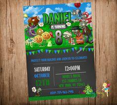 Plants vs Zombies Party Invitation, Plants vs Zombies Invitation, Plants vs Zombies Chalkboard Invitation,Do-It-Yourself Digital File.