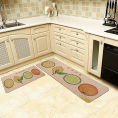 "AmazonSmile: Kitchen Rugs, LEEVAN 2 PCS Vintage Microfiber Non-Skid/Slip Rubber Back Washable Doormat Floormat Area Rug Carpet (17"" X 29""+17"" X 47"", Fruits): Kitchen & Dining"