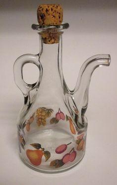 Vintage Glass Cruet 18 oz w/ Stopper Oil Vinegar Fruit Motif by Serve Italy