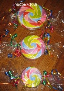 Faux candy decorations made with Styrofoam disks, colorful napkins & Mod Podge