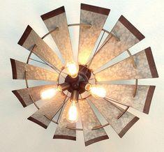 Windmill Farmhouse Flush Mount Ceiling Light - The Lamp Goods Bathroom Ceiling Light, Bathroom Light Fixtures, Ceiling Light Fixtures, Ceiling Lights, Ceiling Ideas, Farmhouse Flush Mount Light, Farmhouse Light Fixtures, Flush Mount Ceiling Fan, Flush Mount Lighting