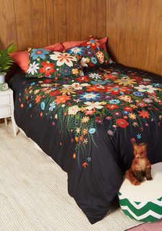 Treasure Grove Duvet Cover Set in Black - Full/Queen. What a fortune of flowers and verdant vines! #multi #modcloth $120