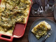 Pesto Lasagne from CookingChannelTV.com ~~~~PESTO LASAGNE  Freshly ground pesto shines when tucked between layers of lasagna noodles and creamy bechamel sauce.