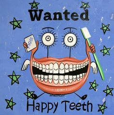 Happy+Teeth+Print+Dental+Art+Collectable+Tooth+Dentist+by+falboart,+$49.00