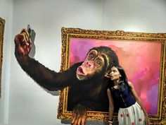 Selfie with monkey 3d art painting